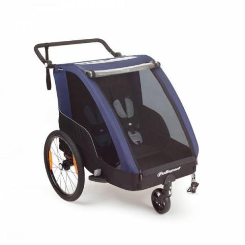 Polisport DUO 2 fietskar voor twee kinderen, inclusief wandelset